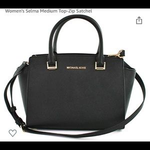 Women's black Michael Kors bag.